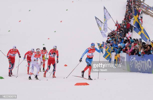 Nikita Kriukov of Russia competes on his way to victory in the Men's Cross Country 1.5km Classic Sprint Final at the FIS Nordic World Ski...