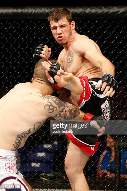 Nikita Krylov kicks Cody Donovan in their light heavyweight bout during the UFC Fight Night event at The O2 Dublin on July 19 2014 in Dublin Ireland