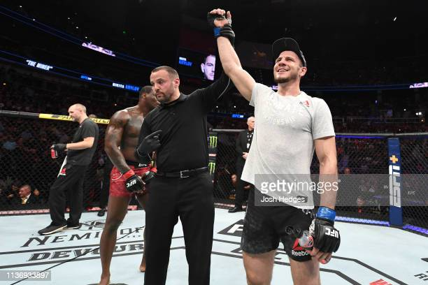 Nikita Krylov of Ukraine celebrates after submitting Ovince Saint Preux in their light heavyweight bout during the UFC 236 event at State Farm Arena...