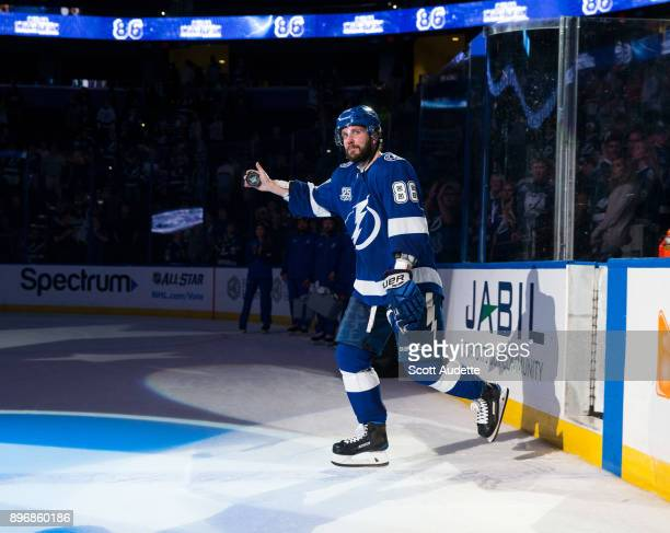 Nikita Kucherov and the Tampa Bay Lightning celebrate the win against the Ottawa Senators at Amalie Arena on December 21 2017 in Tampa Florida