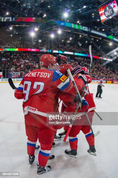 Nikita Kucherov celebrates his goal with teammates during the Ice Hockey World Championship Quarterfinal between Russia and Czech Republic at...