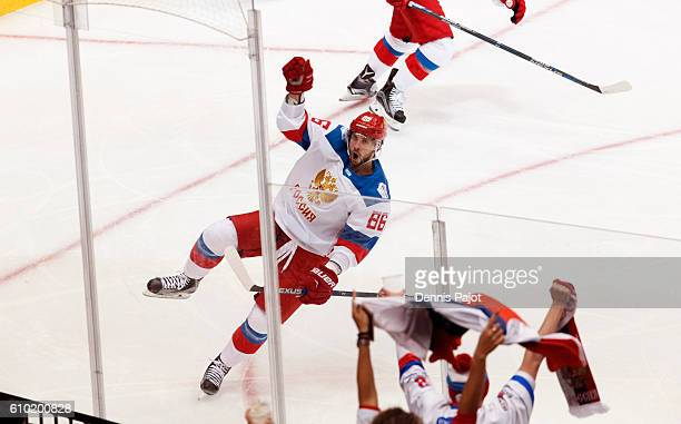 Nikita Kucherov of Team Russia celebrates his second period goal against Team Canada at the semifinal game during the World Cup of Hockey tournament...