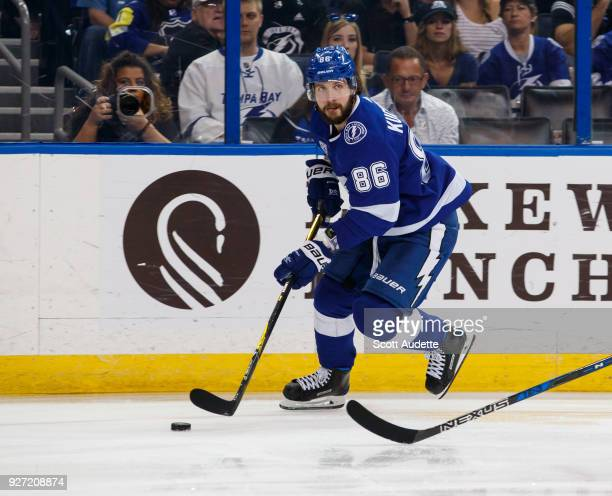 Nikita Kucherov of the Tampa Bay Lightning against the Philadelphia Flyers at Amalie Arena on March 3 2018 in Tampa Florida 'n