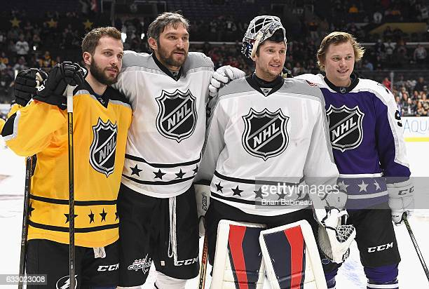Nikita Kucherov of the Tampa Bay Lightning Alex Ovechkin of the Washington Capitals Sergei Bobrovsky of the Columbus Blue Jackets and Vladimir...