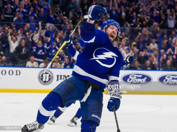 Nikita Kucherov of the Tampa Bay Lightning celebrates a goal against the Boston Bruins during the third period at Amalie Arena on March 25 2019 in...
