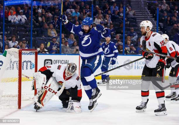 Nikita Kucherov of the Tampa Bay Lightning celebrates a goal against goalie Mike Condon of the Ottawa Senators during the third period at Amalie...
