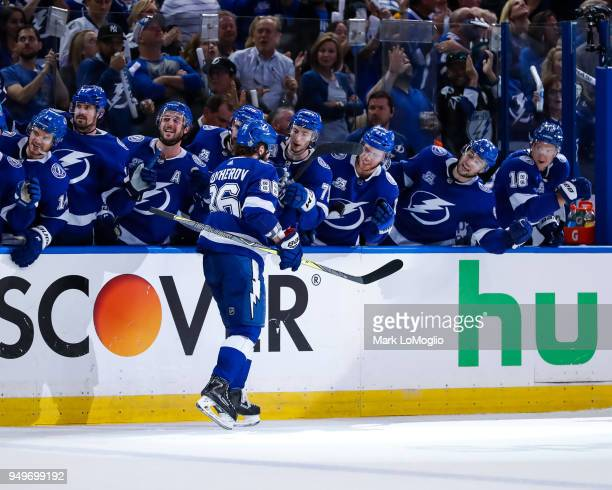 Nikita Kucherov of the Tampa Bay Lightning celebrates a goal against the New Jersey Devils in Game Five of the Eastern Conference First Round during...