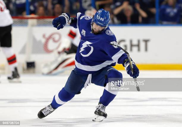 Nikita Kucherov of the Tampa Bay Lightning celebrates a goal against the New Jersey Devils in the third period of Game Five of the Eastern Conference...
