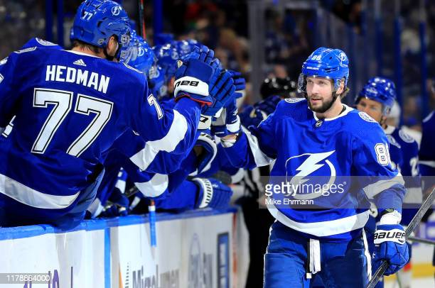 Nikita Kucherov of the Tampa Bay Lightning celebrates a goal during the home opener against the Florida Panthers at Amalie Arena on October 03 2019...