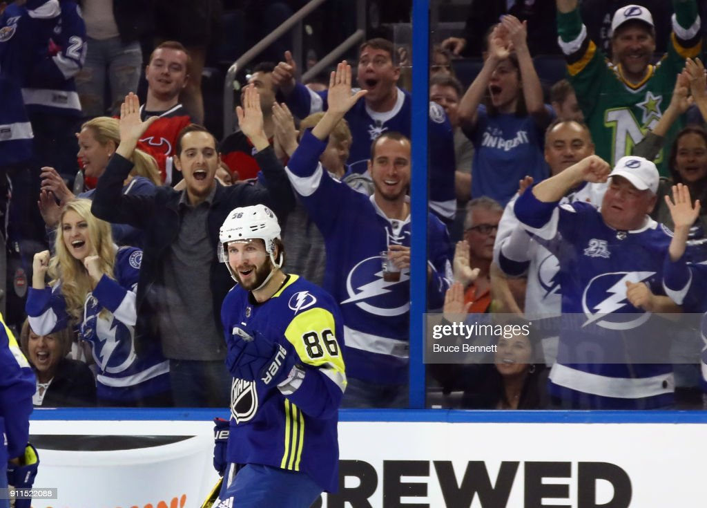 Nikita Kucherov #86 of the Tampa Bay Lightning celebrates a goal during the 2018 Honda NHL All-Star Game between the Atlantic Division and the Metropolitan Divison at Amalie Arena on January 28, 2018 in Tampa, Florida.