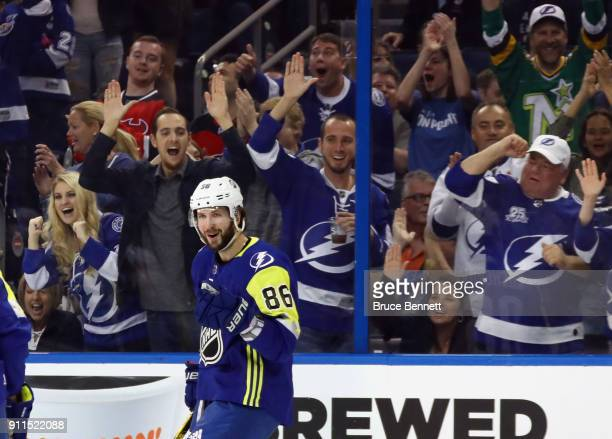 Nikita Kucherov of the Tampa Bay Lightning celebrates a goal during the 2018 Honda NHL AllStar Game between the Atlantic Division and the...
