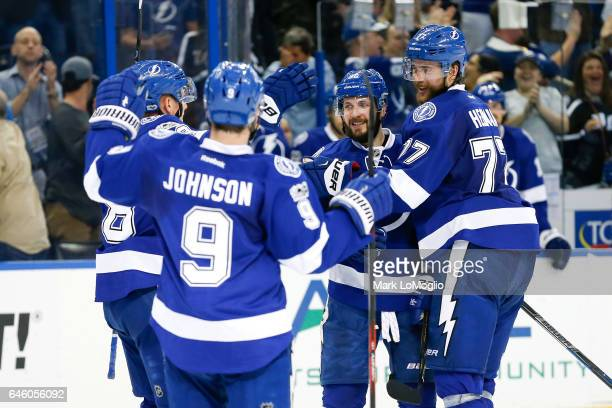 Nikita Kucherov of the Tampa Bay Lightning celebrates a goal with teammates against the Ottawa Senators during the second period at Amalie Arena on...