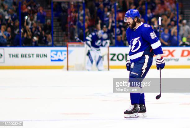 Nikita Kucherov of the Tampa Bay Lightning celebrates a second period goal during Game Four of the Second Round of the 2021 Stanley Cup Playoffs...