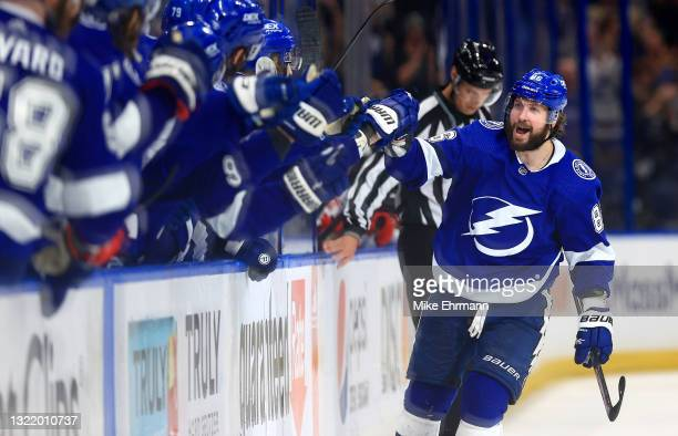 Nikita Kucherov of the Tampa Bay Lightning celebrates a third period goal during Game Four of the Second Round of the 2021 Stanley Cup Playoffs...
