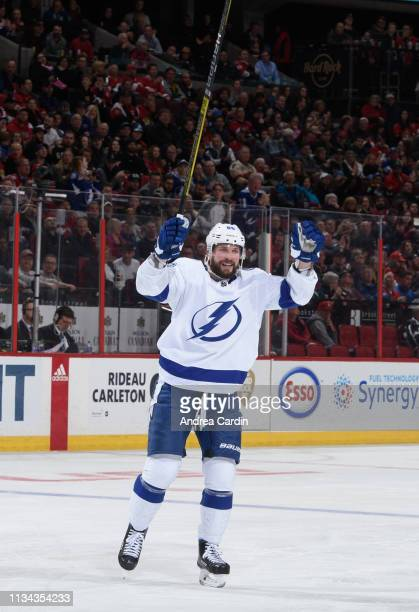 Nikita Kucherov of the Tampa Bay Lightning celebrates after a goal by teammate Mikhail Sergachev on the Ottawa Senators at Canadian Tire Centre on...
