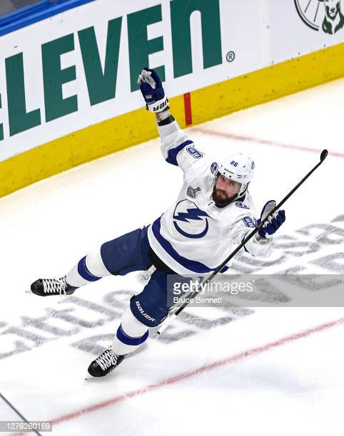 Nikita Kucherov of the Tampa Bay Lightning celebrates after scoring a goal against the Dallas Stars during the first period in Game Three of the 2020...