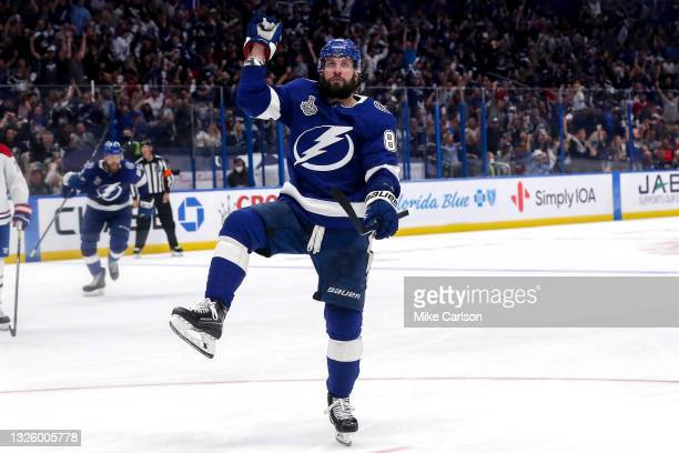 Nikita Kucherov of the Tampa Bay Lightning celebrates after scoring a goal against the Montreal Canadiens during the third period in Game One of the...