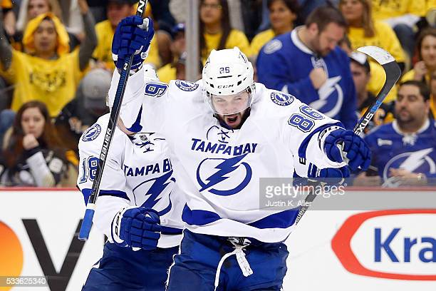 Nikita Kucherov of the Tampa Bay Lightning celebrates after scoring a goal against MarcAndre Fleury of the Pittsburgh Penguins during the third...