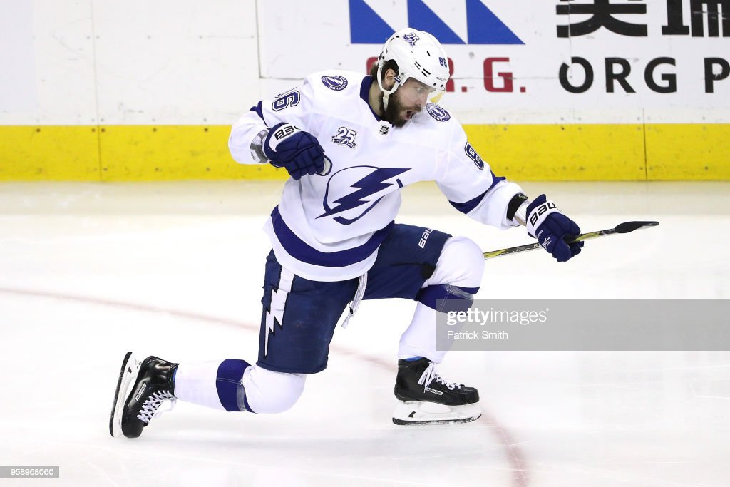 Nikita Kucherov #86 of the Tampa Bay Lightning celebrates after scoring a goal on Braden Holtby #70 of the Washington Capitals during the second period in Game Three of the Eastern Conference Finals during the 2018 NHL Stanley Cup Playoffs at Capital One Arena on May 15, 2018 in Washington, DC.