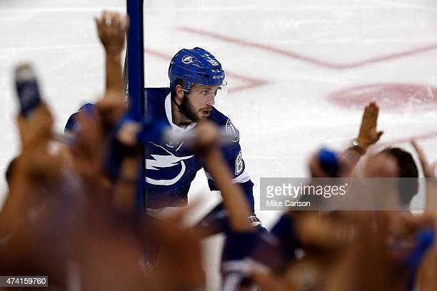 Nikita Kucherov of the Tampa Bay Lightning celebrates after scoring the game winning goal in overtime to defeat the New York Rangers 6 to 5 in Game...