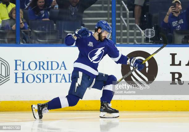 Nikita Kucherov of the Tampa Bay Lightning celebrates after scoring over the San Jose Sharks during the third period at Amalie Arena on December 2...