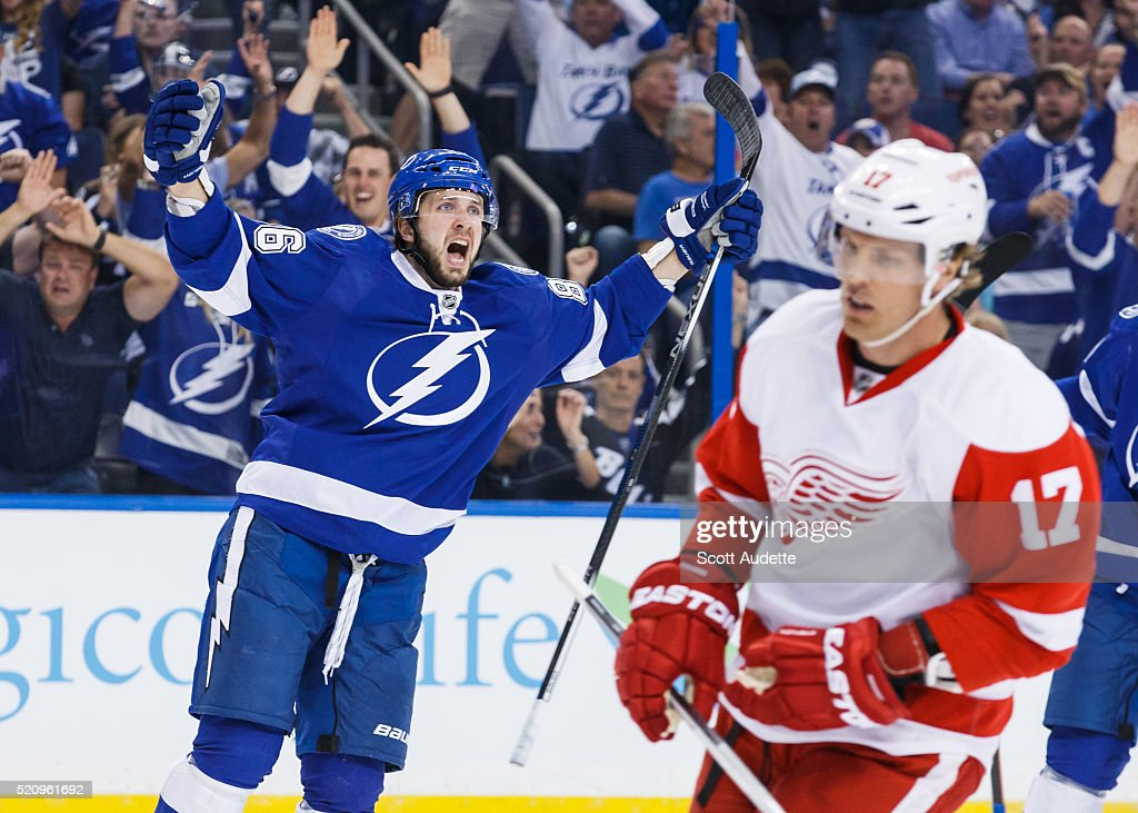 Nikita Kucherov #86 of the Tampa Bay Lightning celebrates his goal against Brad Richards #17 and the Detroit Red Wings during the first period of Game One of the Eastern Conference Quarterfinals during the 2016 NHL Stanley Cup Playoffs at the Amalie Arena on April 13, 2016 in Tampa, Florida.