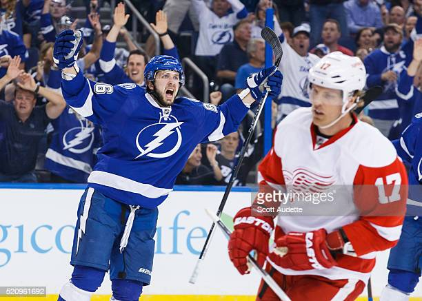 Nikita Kucherov of the Tampa Bay Lightning celebrates his goal against Brad Richards and the Detroit Red Wings during the first period of Game One of...