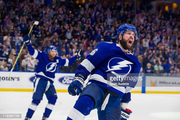 Nikita Kucherov of the Tampa Bay Lightning celebrates his goal against the Boston Bruins during the third period at Amalie Arena on March 25 2019 in...