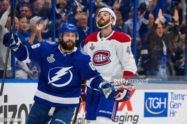 Nikita Kucherov of the Tampa Bay Lightning celebrates his goal against the Montreal Canadiens during the third period in Game One of the Stanley Cup...