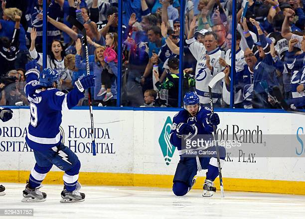 Nikita Kucherov of the Tampa Bay Lightning celebrates his goal against the New York Islanders during the third period of Game Five of the Eastern...