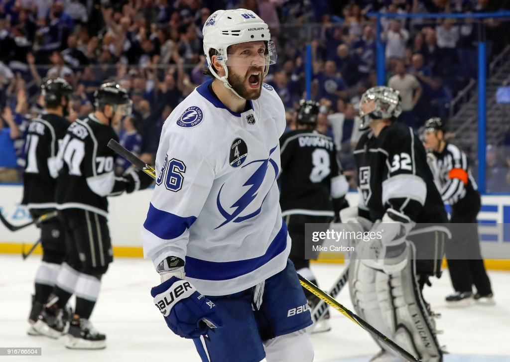Nikita Kucherov #86 of the Tampa Bay Lightning celebrates his goal against the Los Angeles Kings at the Amalie Arena on February 10, 2018 in Tampa, Florida.