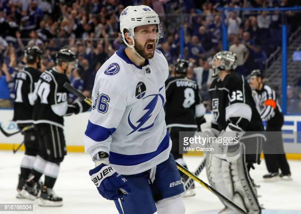 Nikita Kucherov of the Tampa Bay Lightning celebrates his goal against the Los Angeles Kings at the Amalie Arena on February 10 2018 in Tampa Florida