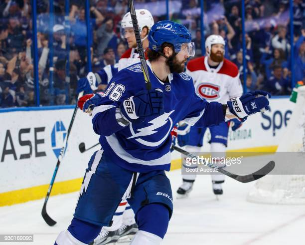 Nikita Kucherov of the Tampa Bay Lightning celebrates his goal against the Montreal Canadiens during the third period at Amalie Arena on March 10...