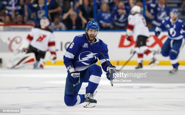 Nikita Kucherov of the Tampa Bay Lightning celebrates his goal against the New Jersey Devils in the third period of Game Five of the Eastern...