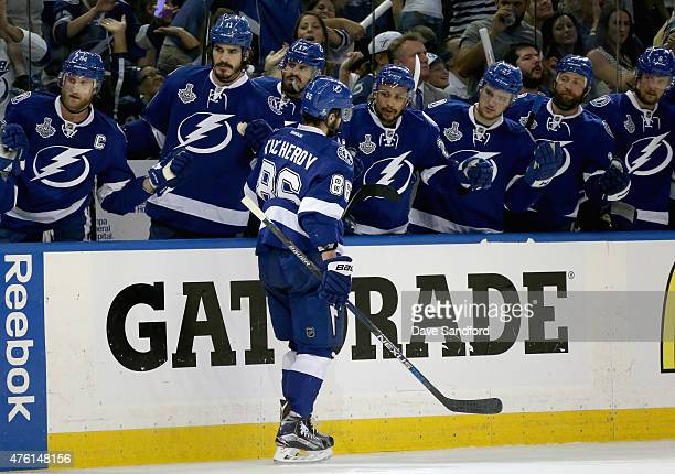 Nikita Kucherov of the Tampa Bay Lightning celebrates his second period goal with teammates during Game Two of the 2015 NHL Stanley Cup Final against...