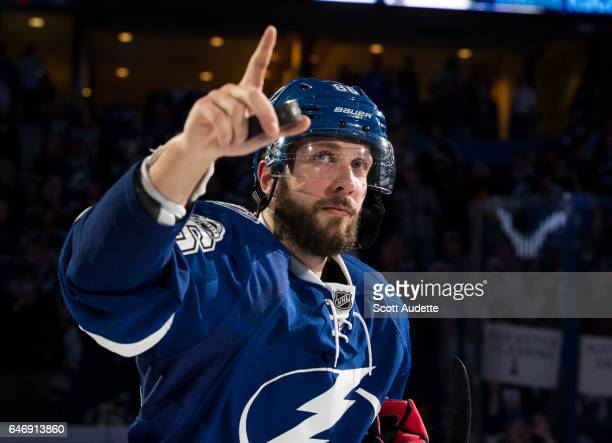 Nikita Kucherov of the Tampa Bay Lightning celebrates the win against the Carolina Hurricanes at Amalie Arena on March 1 2017 in Tampa Florida