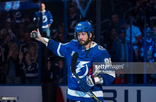 Nikita Kucherov of the Tampa Bay Lightning celebrates the win against the Detroit Red Wings at Amalie Arena on October 26 2017 in Tampa Florida