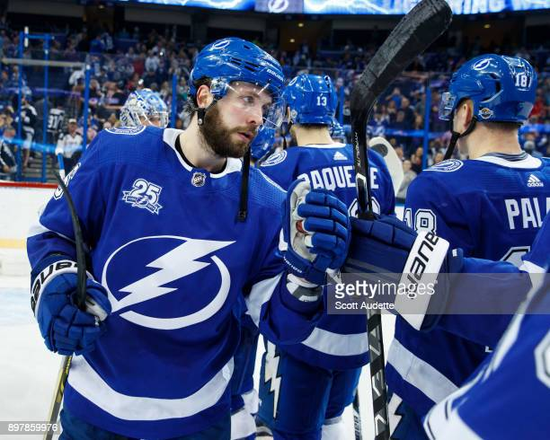 Nikita Kucherov of the Tampa Bay Lightning celebrates the win against the Minnesota Wild at Amalie Arena on December 23 2017 in Tampa Florida