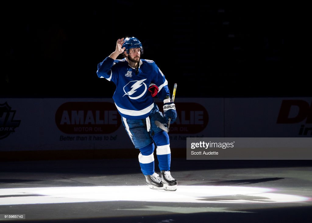 Nikita Kucherov #86 of the Tampa Bay Lightning celebrates the win against the Vancouver Canucks at Amalie Arena on February 8, 2018 in Tampa, Florida.