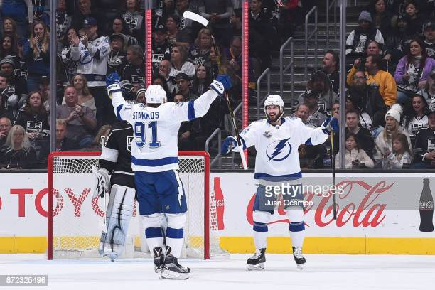 Nikita Kucherov of the Tampa Bay Lightning celebrates with Steven Stamkos after scoring a goal against the Los Angeles Kings at STAPLES Center on...