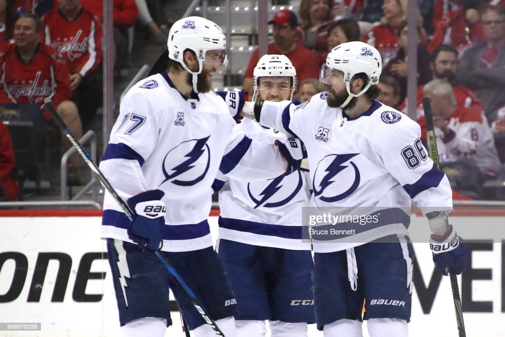 Nikita Kucherov #86 of the Tampa Bay Lightning celebrates with teammate Victor Hedman #77 after scoring a goal against Braden Holtby #70 of the Washington Capitals during the second period in Game Three of the Eastern Conference Finals during the 2018 NHL Stanley Cup Playoffs at Capital One Arena on May 15, 2018 in Washington, DC.