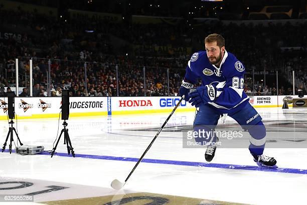 Nikita Kucherov of the Tampa Bay Lightning competes in the Bridgestone NHL Fastest Skater event during the 2017 Coors Light NHL AllStar Skills...