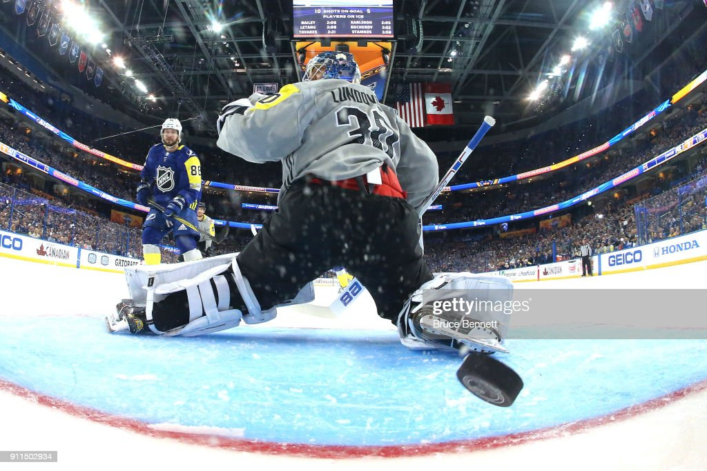 Nikita Kucherov #86 of the Tampa Bay Lightning gets a goal past Henrik Lundqvist #30 of the New York Rangers in the second half during the 2018 Honda NHL All-Star Game between the Atlantic Division and the Metropolitan Divison at Amalie Arena on January 28, 2018 in Tampa, Florida.