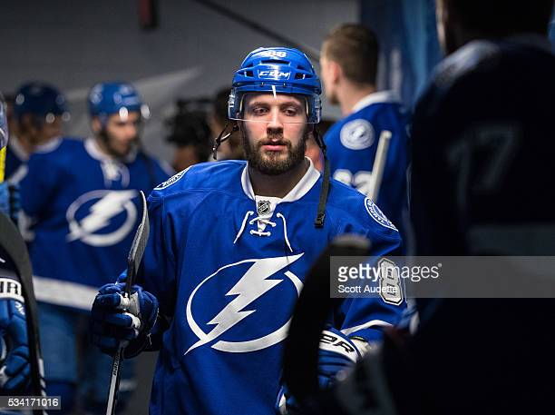 Nikita Kucherov of the Tampa Bay Lightning gets ready for the game against the Pittsburgh Penguins before Game Three of the Eastern Conference Finals...