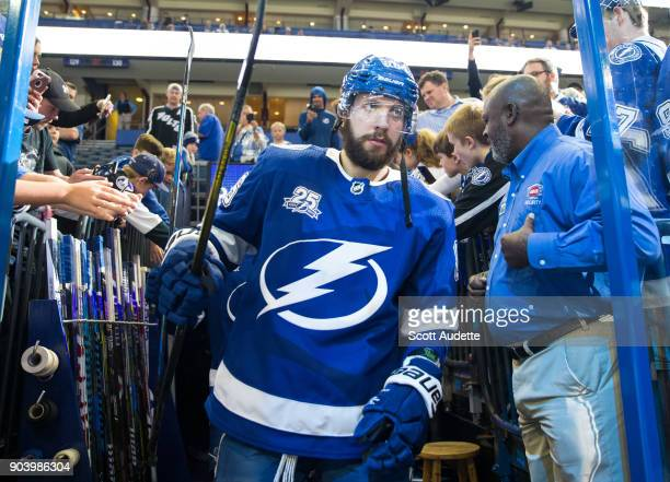 Nikita Kucherov of the Tampa Bay Lightning gets ready for the game against the Calgary Flames at Amalie Arena on January 11 2018 in Tampa Florida