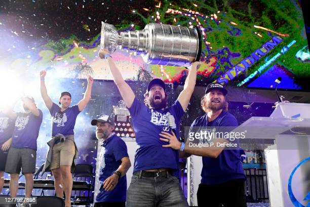Nikita Kucherov of the Tampa Bay Lightning holds the Stanley Cup above his head during the 2020 Stanley Cup Champion rally on September 30, 2020 in...
