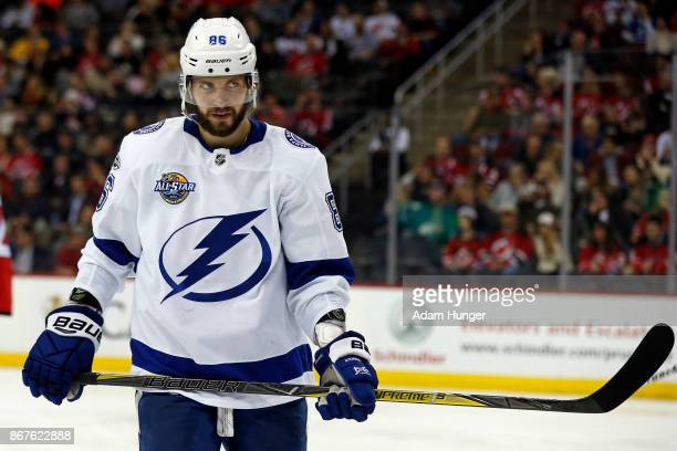 Nikita Kucherov of the Tampa Bay Lightning in action against the New Jersey Devils during the third period at the Prudential Center on October 17...