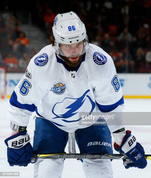 Nikita Kucherov of the Tampa Bay Lightning lines up for a faceoff during the game against the Anaheim Ducks on November 12 2017 at Honda Center in...