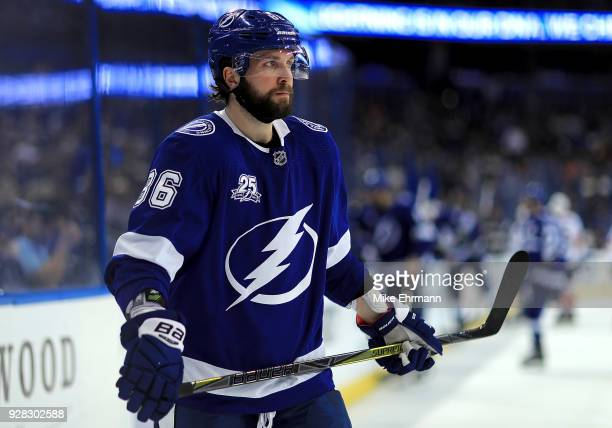 Nikita Kucherov of the Tampa Bay Lightning looks on during a game against the Florida Panthers at Amalie Arena on March 6 2018 in Tampa Florida