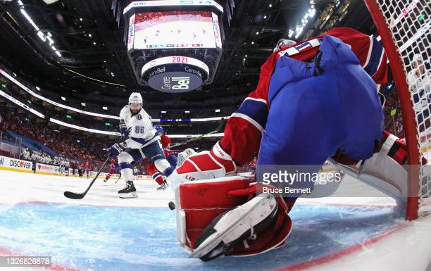 Nikita Kucherov of the Tampa Bay Lightning moves in and scores on Carey Price of the Montreal Canadiens during Game Three of the 2021 NHL Stanley Cup...